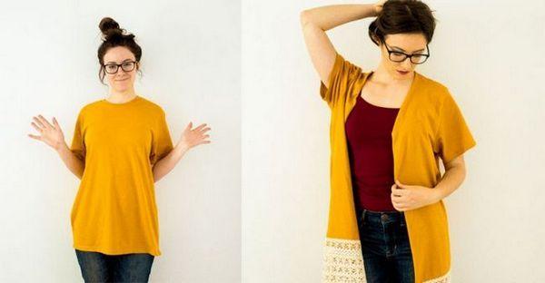 Як зробити з великою футболки ультрамодний кардиган. Я закохалася в цю ідею. Майстер клас